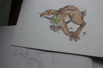 "Irish Hare ""Good Luck"" Sketchwork"