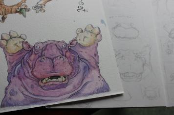 """Hip Hippo Ray"" Sketchwork"