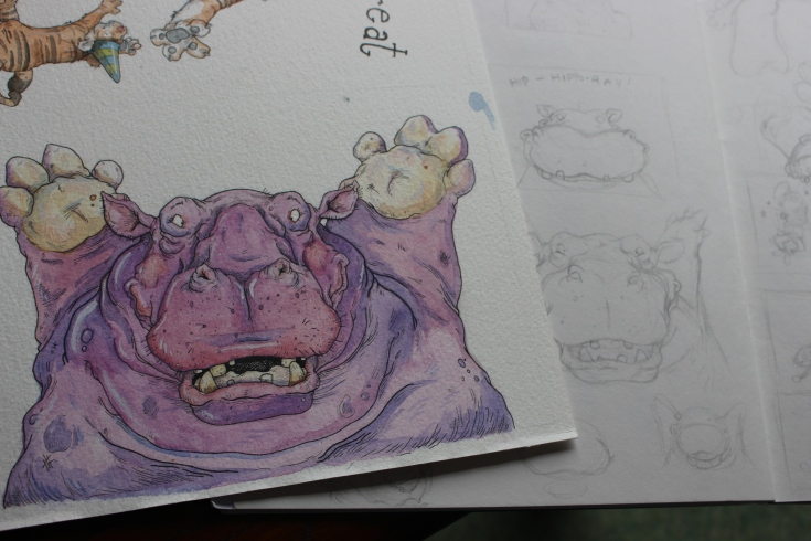 """Hip Hippo Ray"" Sketchwork"