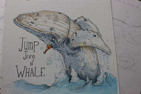 """Jump, Jive and Whale"" Sketchwork"