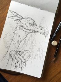 Raptor like Dino pen and Ink